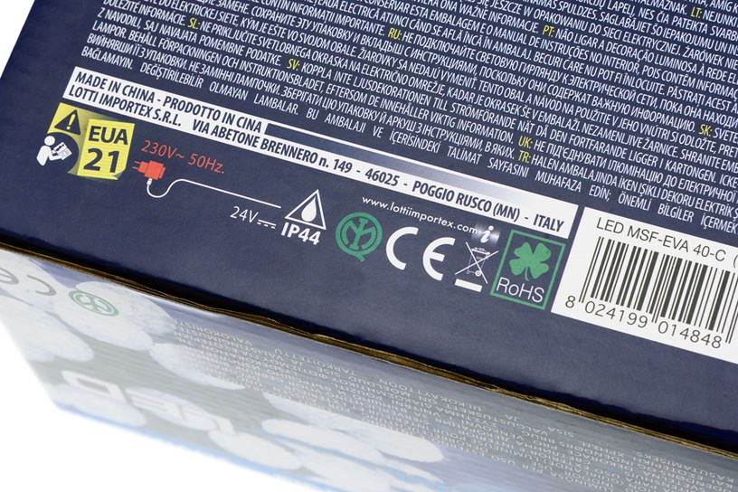 scatola luci natalizie marchio CE