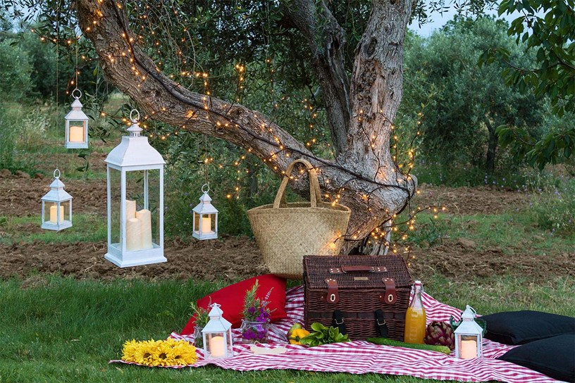 Pique nique romantique et lanternes blanches