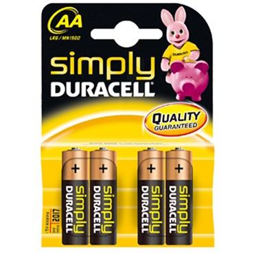 Paquete de 4 pilas alcalinas AA Duracell Simply