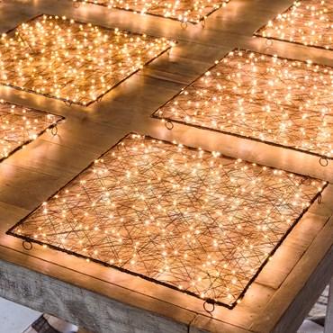 Pannello quadrato in metallo marrone, 50 cm, 240 microled bianco caldo