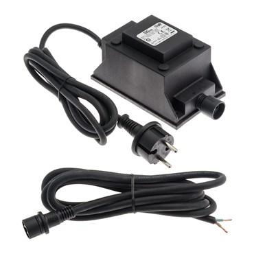 Transformador 24V, 105VA, cable negro, apto para exteriores