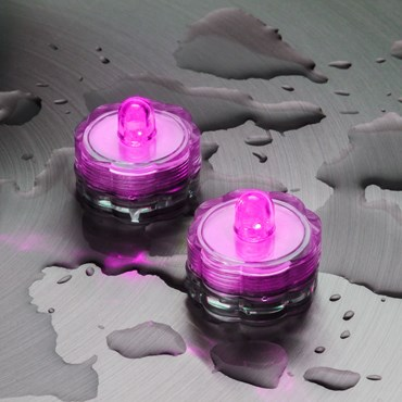6 Bougies chauffe-plat à piles, led rose, submersibles