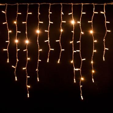 Eisregen-Lichterkette 3 x h 0,9 m, 228 Maxi LEDs warmweiß, weißes Kabel, erweiterbar