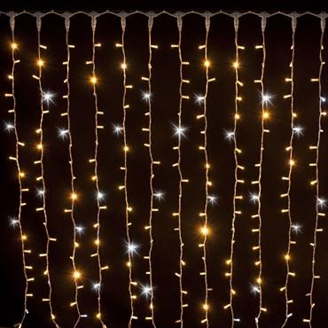 Lichtervorhang 2 x h 1,5 m, 304 MaxiLEDs warm- und kaltweiß, weißes Kabel, erweiterbar