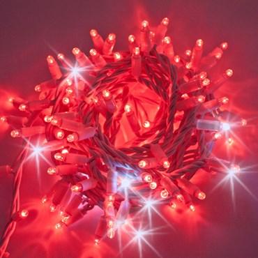 Lichterkette 10 m, 200 Maxi LEDs rot und kaltweiß, weißes Kabel, erweiterbar