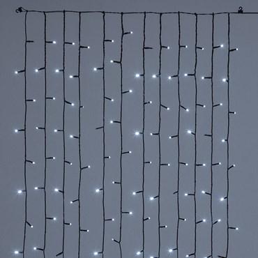 Rideau de lumière pour sapin de Noël de 180 cm, 180 led blanc froid, câble vert