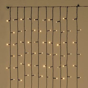 Tenda di luci per albero di Natale alto 150 cm, 120 led bianco caldo, cavo verde