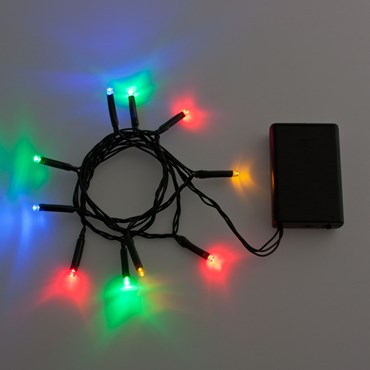 Guirnalda de luces a pilas 90 cm, 10 Led multicolor, cable verde