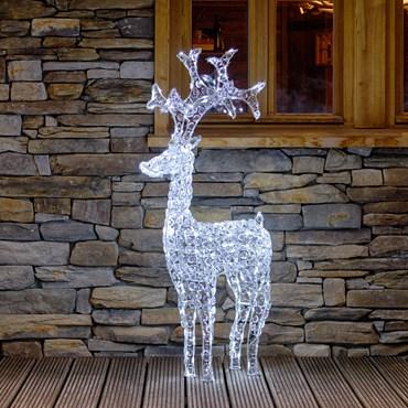 Reno luminoso Led blanco con cristales acrílicos h. 120cm