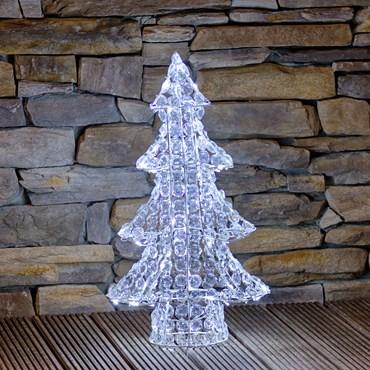 Acrylic Crystals Christmas Tree Christmas Figure, h 75cm, 120 White LEDs