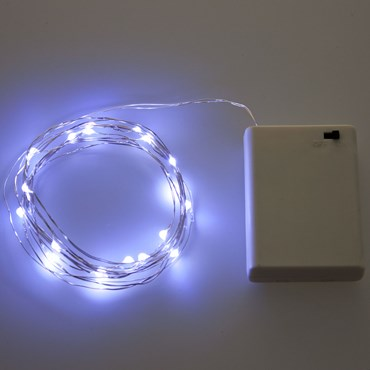 Set 2 Guirnaldas de luces a pilas 3,9m, 40 Micro Led blanco