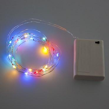 Guirnalda de luces a pilas 1,9m, 20 Micro Led multicolor