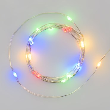 1.9m Battery String Lights, 20 Multi Coloured MicroLEDs, Silver Metal Wire