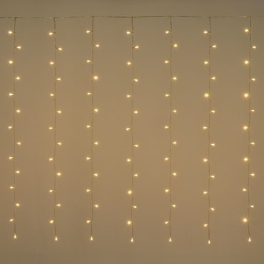 Rideau 3 x 1,52 m, 182 LED blanc chaud, câble transparent