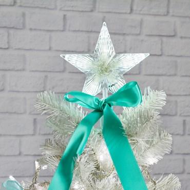 Estrella para árbol de Navidad luminosa blanca h. 21cm