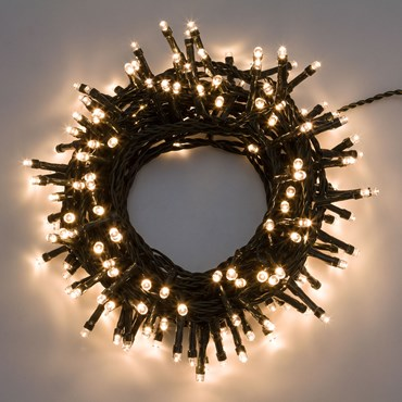 5m 100 Warm White Led String Lights, Green Cable
