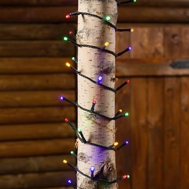 Guirlande 4,8 m, 120 led blanc multicolor, câble vert