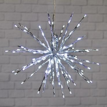 45cm Silver Twigball Branch Lights, 160 White LEDs