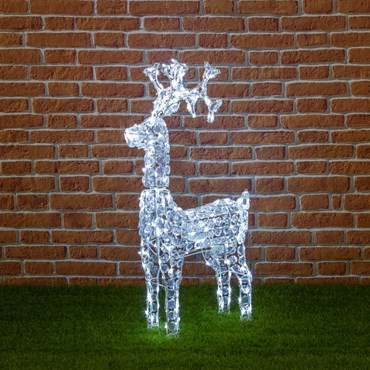Stehendes Rentier mit Acryl Kristallen, h 90 cm, 200 LEDs kaltweiß