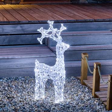Reno luminoso cabeza giratoria Led blanco con cristales acrílicos h. 90cm
