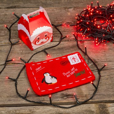 13.1m 180 Red MiniLed String Lights, Green Cable