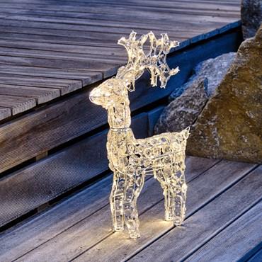 Renna con cristalli, h 70 cm, 100 led bianco caldo