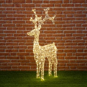 Stehendes Rentier mit Acryl Kristallen, h 120 cm, 250 LEDs warmweiß