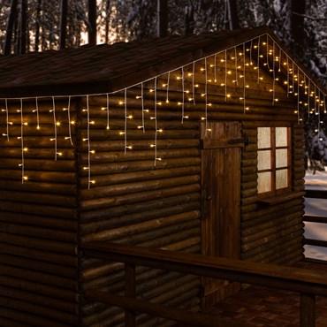 Eiszapfen-Lichterkette 30 x h 0,6 m, 720 LEDs warmweiß, weißes Kabel