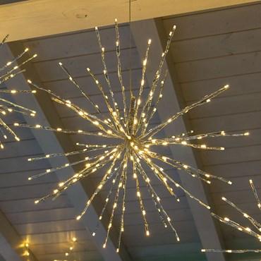 Silberner TWIGball, h 60 cm, 200 LEDs warmweiß