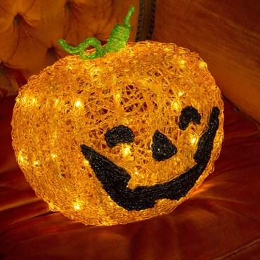 Citrouille d'Halloween 3D à piles, h. 32 cm, 80 LED blanc chaud, timer 6 heures