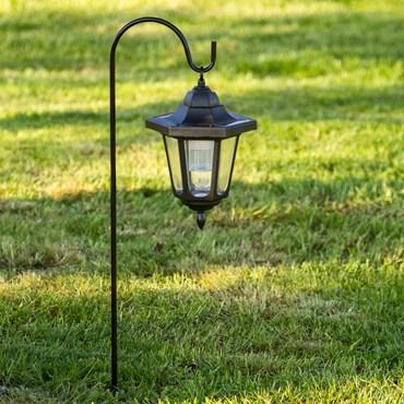 Lanterna led nera a energia solare con picchetto, h 64,5 cm, led bianco freddo