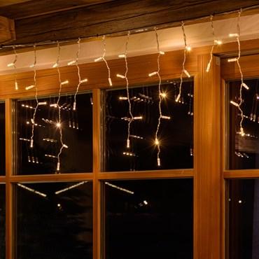 Eiszapfen-Lichterkette 3 x h 0,6 m, 96 Maxi LEDs warmweiß, transparentes Kabel, erweiterbar