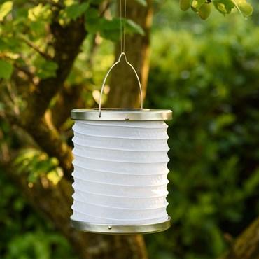 Weiße Solar LED-Laterne zum Aufhängen, h 18 cm, warmweiß
