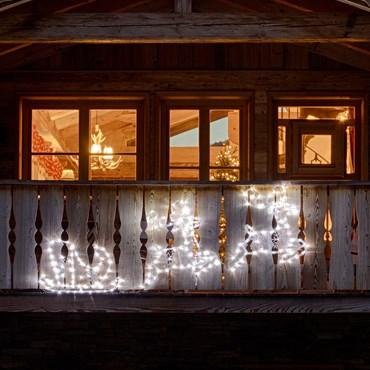 2 rennes avec traîneau avec effet glacé 240 x H 70 cm, 224 LED blanc froid