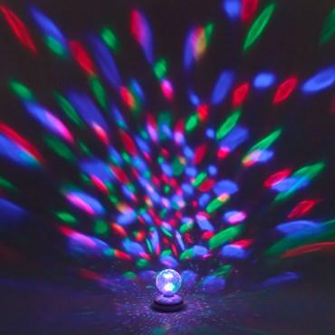 Projecteur boule à facettes rotative, jeux de lumière bleu-rouge-vert