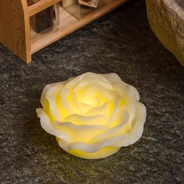 Leuchtende LED-Rose aus Echtwachs, Ø 12,5 cm, warmweißes Licht, mit Timer, batteriebetrieben