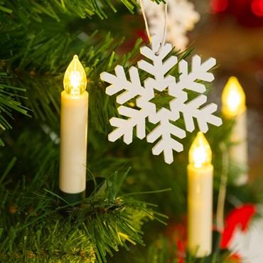 Set de 10 bougies à piles avec pince pour sapin, led blanc chaud, télécommande ON-OFF, intérieur