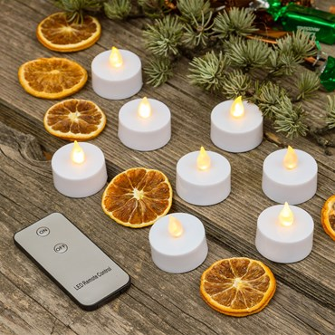 8 LED-Teelichter mit Batterie, warmweiß, ON/OFF Fernbedienung