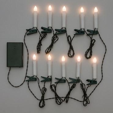 Guirlande décorée à piles 4,5 m, 10 bougies avec pince pour sapin, led blanc chaud