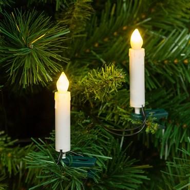 Lichterkette 11,4 m, 20 LED-Kerzen warmweiß mit Befestigungsclip, grünes Kabel