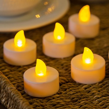 12 candeline tealight, led bianco caldo
