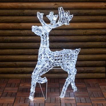 Renna con cristalli trasparenti galoppante, h 85 cm, 200 led bianco freddo