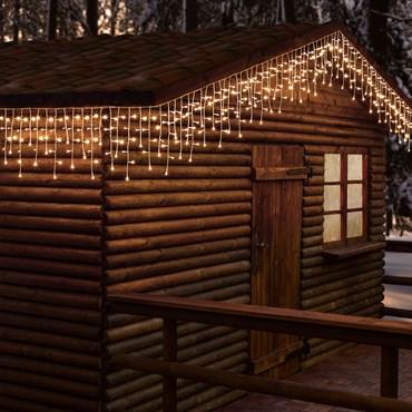 Eiszapfen-Lichterkette 5,3 x h 0,3 m, 352 LEDs warmweiß, weißes Kabel, erweiterbar