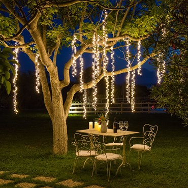 Cascada luminosa Smart Connect 3 Festones colgantes, 288 Led blanco cálido, cable blanco, prolungable