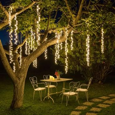 3er Cluster-Lichterketten, 288 LEDs warmweiß, grünes Kabel, erweiterbar