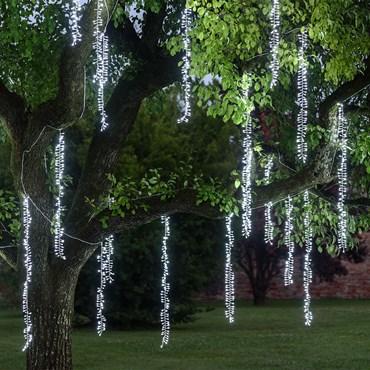 Cascata di luci a 3 nastri, 288 led bianco freddo, cavo bianco