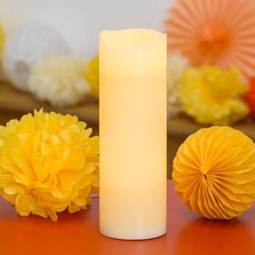 LED-Wachskerze elfenbeinfarben, h 30 cm, warmweißes Licht, mit Timer