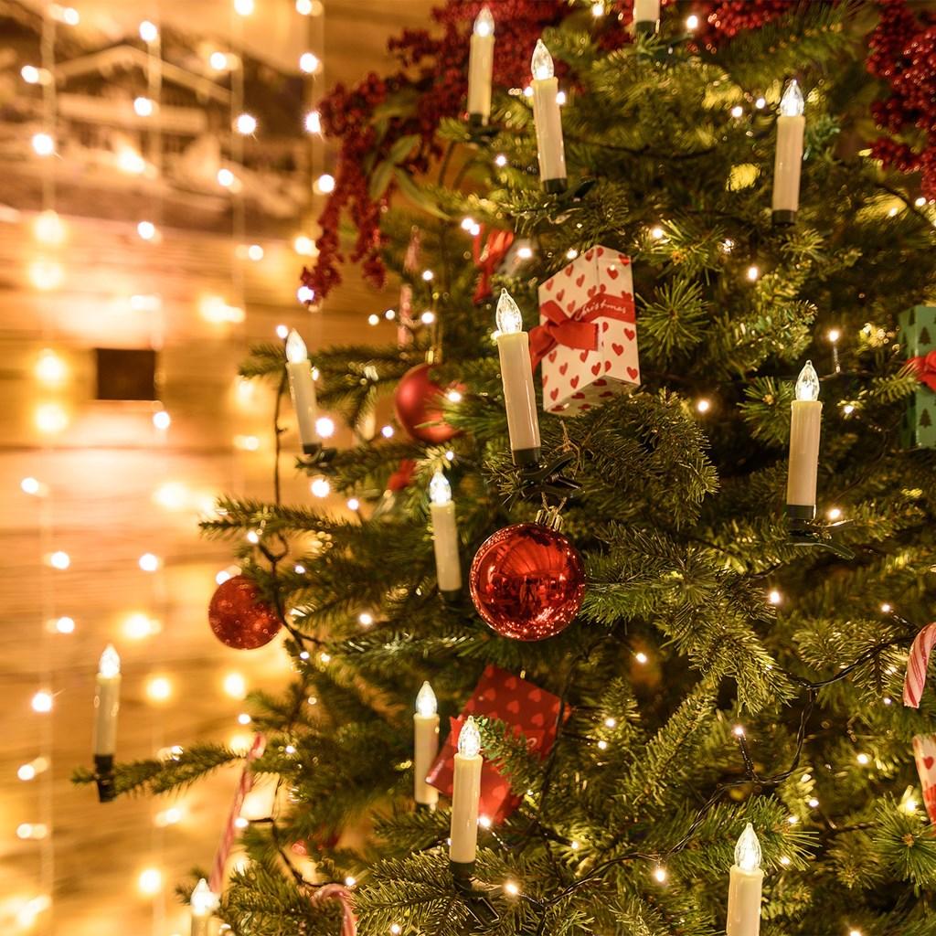 Bougie Sapin De Noel Lot de 15 bougies avec pince à piles pour sapin de Noël, Led blanc