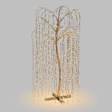 Silberner Lichterbaum Trauerweide h 200 cm, 1024 LEDs warmweiß