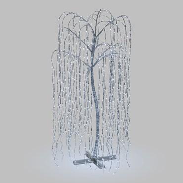 Silberner Lichterbaum Trauerweide h 200 cm, 1024 LEDs kaltweiß